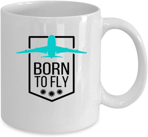 Airplane Coffee White Mug - Gift for pilot - Born to fly - Family Presents - Great Blanket, Canvas, Clothe, Gifts For Family