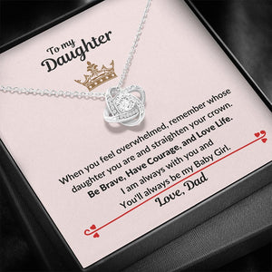 To My Daughter Necklace, Straighten Your Crown, Gift For Daughter From Dad, Birthday Gift From Dad