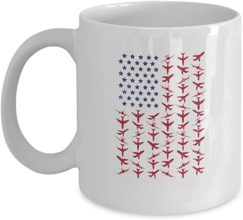 American Flag White Mug 11oz - Perfect For Pilots, Captains, Flight Attendants, Aviators, Mechanics Airport Staff & Fans - Family Presents - Great Blanket, Canvas, Clothe, Gifts For Family
