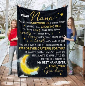 Fleece Blanket - Dear Nana - Form grandson - Birthday gift - You will always be my best nana forever