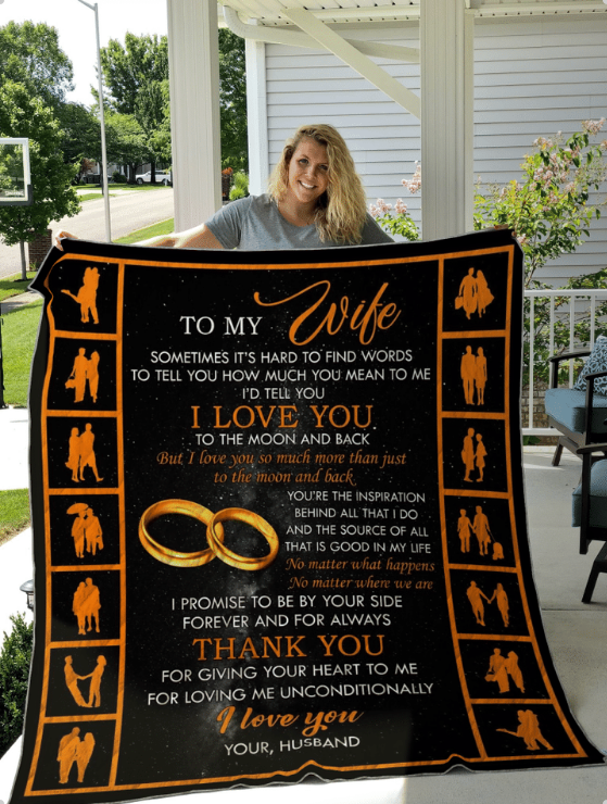 Blanket gift to my wife - specal gift for anniversary, birthday - Thank you for giving your heart to me