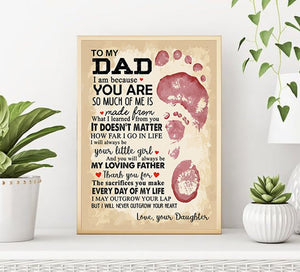 Fathers Day Canvas - To My Dad From Daughter I Will Never Outgrow Your Heart - Fathers Day Gifts Home Decor, Canvas Wall Art