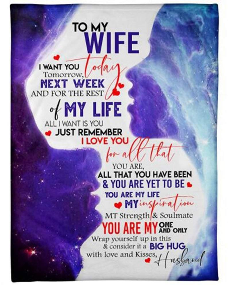 To My Wife Galaxy Blanket - Just Remember I Love You - Blanket Gift For Wife - Valentine Gift For Wife , Valentine Blanket For Couple - Family Presents - Great Blanket, Canvas, Clothe, Gifts For Family