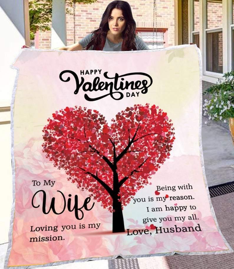To My Wife Blanket - Happy Valentine Day - Blanket Gift For Wife - Valentine Gift For Wife , Valentine Blanket For Couple