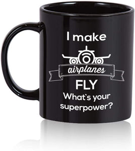 Airplane Coffee Mug. Airplane gift for pilots Black Mug - Family Presents - Great Blanket, Canvas, Clothe, Gifts For Family