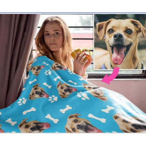 Personalized Pet Photo Blanket,Custom Dog Face Blankets, Dog blankets, Photo Throws, Photo Gifts, Dog Keepsake,Gifts for Dog Lovers, Dog mom - Family Presents - Great Blanket, Canvas, Clothe, Gifts For Family