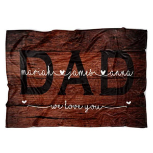 Personalized Dad Blanket Dad Gift For Dad From Kids Father's Day Gift Ideas - Family Presents - Great Blanket, Canvas, Clothe, Gifts For Family