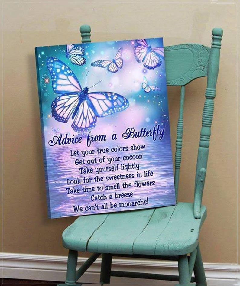 Advice From A Butterfly Canvas Wall Art Farmhouse Sign Decor Canvas Birthday Wedding Housewarming Gift Wall Hangings