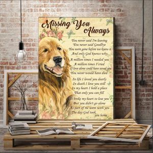 Animal Canvas - Dog/Cat Canvas - Missing You Always Wall Art Canvas - Anniversary, Birthday, Christmas gift