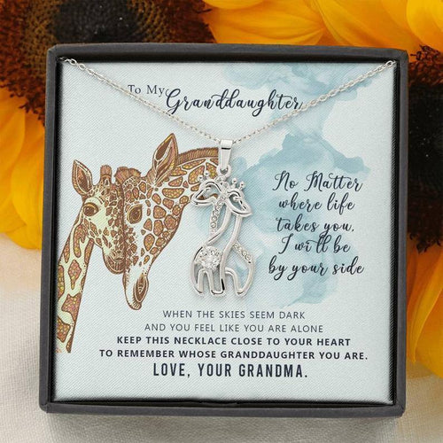 Giraffe Pendant Necklace & Message Card - To My Granddaughter, I Will Always Be By Your Side Giraffe Necklace, Birthday Gift For Granddaughter - Family Presents - Great Blanket, Canvas, Clothe, Gifts For Family