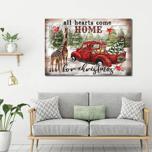 All Hearts Come Home For Christmas Canvas, Christmas Gift, Giraffe Canvas, Christmas Gift, North Pole, Retro Canvas, Wall Art, Home Decor