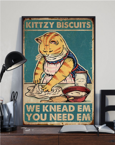 Cat Kittzy Biscuits Vertical Canvas - Anniversary Birthday Christmas Housewarming Gift Home
