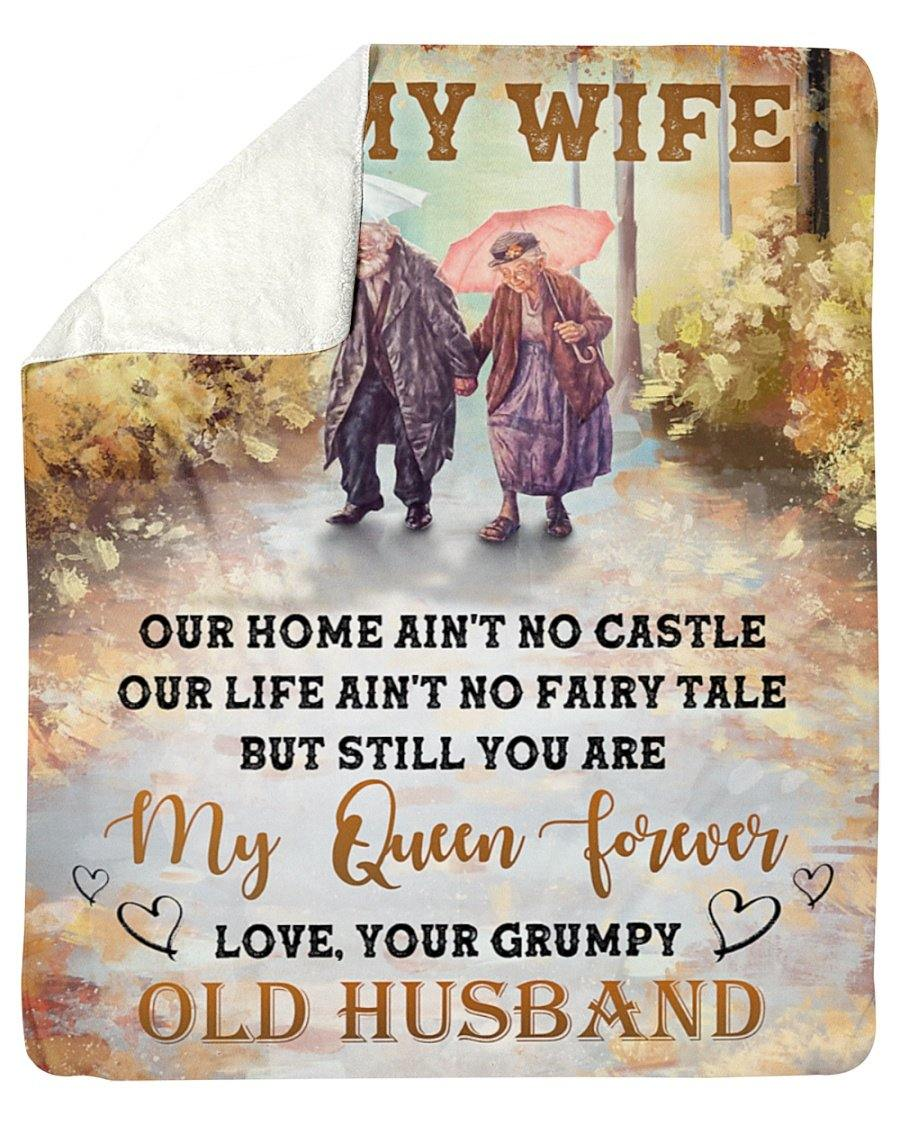 Our Home Ain't No Castle Husband To Wife Fleece Blanket - Couple gift - Valentine gift for husband/wife