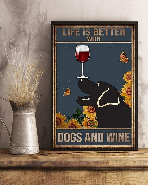life is better with labrador Vertical Canvas - Dogs and Wine