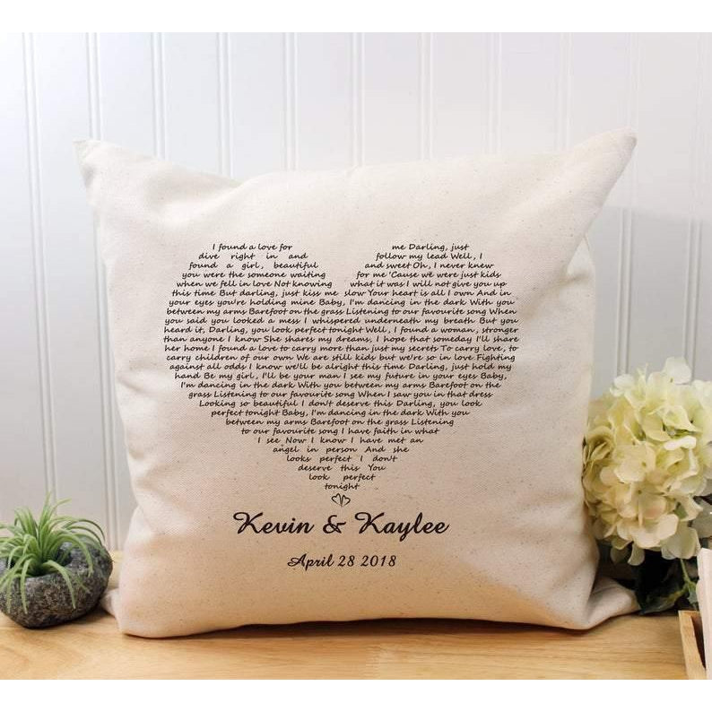 Personalized Canvas Pillow, gift for valentine for her/him, First dance lyrics, heart song pillow personalize pillow gift Housewarming Pillow, Wedding Pillow - Family Presents - Great Blanket, Canvas, Clothe, Gifts For Family