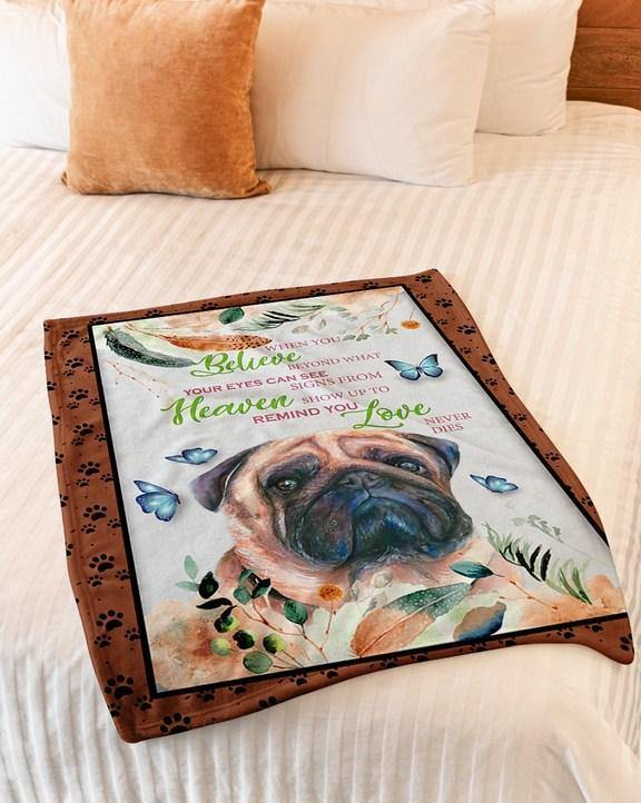Fleece Blanket - Pug lovers - Heaven show up to remind you Love never die