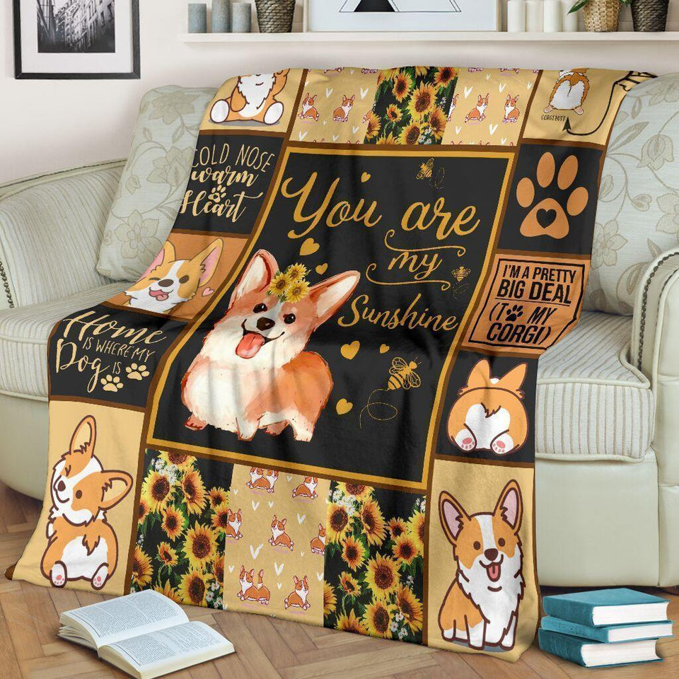 Dog Blanket You Are My Sunshine Corgi Dog Sunflower Fleece Blanket - Family Presents - Great Blanket, Canvas, Clothe, Gifts For Family