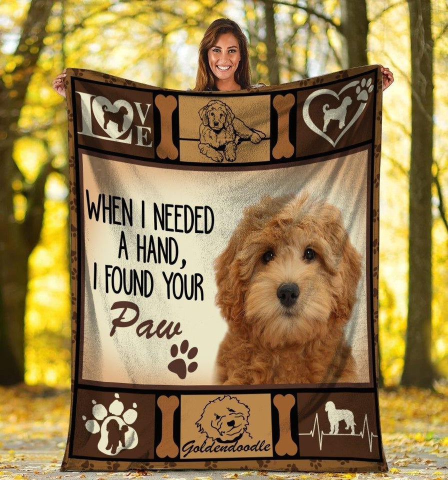 Dog Blanket When I Needed A Hand Goldendoodle Dog Ultra Soft Cozy Sherpa Plush Fleece Blanket