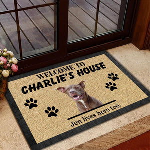 Gosszy - Personalized Welcome to Dog House Doormat, dog doormat, dog gift, dog mat, custom dog - Cartoon Dog Printing Doormat