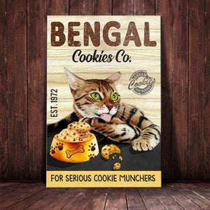 Bengal Cat Cookies Company Canvas - For Serious Cookie Munchers - Anniversary Birthday Christmas Housewarming Gift Home