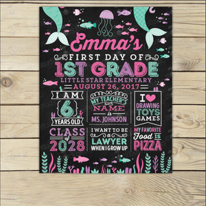Mermaid First Day of School Chalkboard Canvas Wall Art - Girl First Day of School Canvas - Mermaid Back to School Canvas - Girl First Day of 1st Grade - Custom your name, grade, school - Family Presents - Great Blanket, Canvas, Clothe, Gifts For Family