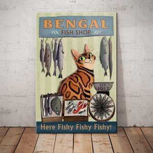 Bengal Cat Fish Shop Canvas - Here Fishy Fishy Fishy - Anniversary Birthday Christmas Housewarming Gift Home