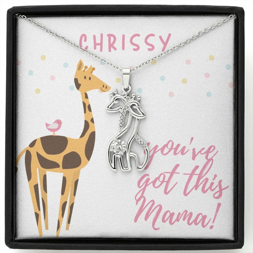Personalized Push Present Gift For Best Friend Push Present Giraffe Necklace Pregnancy Gift First Mother'S Day New Mom Jewelry Push Gift