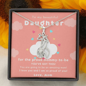 To My Beautiful Daughter, First Mother'S Day Gift New Mom Necklace Giraffe Necklace New Mother Necklace Gift For New Mommy Mom Mother Babe Expecting Wife Baby Shower