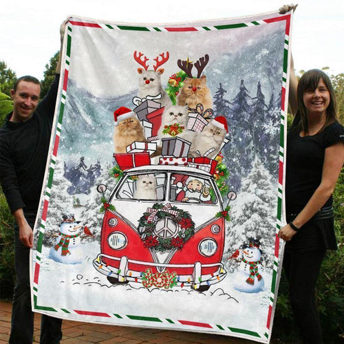 CHRISTMAS PERSIAN CAT BLANKET I - Family Presents - Great Blanket, Canvas, Clothe, Gifts For Family