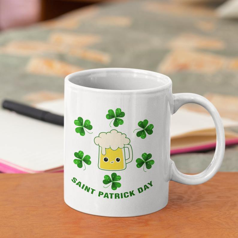 St. Patrick's Day 2021 Gifts  Cute Beer Shamrock St.Patrick's Day Mug , Funny Irish St Patrick's Day , Lucky Day Mug