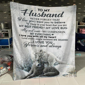 To My Husband Wolf Blanket - My Love Bug - Blanket Gift For Husband - Valentine Gift For Husband , Valentine Blanket For Couple