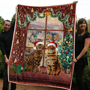 CHRISTMAS BENGAL CAT BLANKET II - Family Presents - Great Blanket, Canvas, Clothe, Gifts For Family