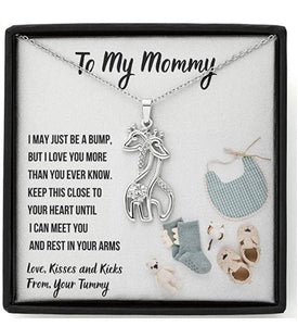 "Mother'S Day Gift, To My Mommy""Fashion"" Graceful Love Giraffe Necklace With Message Card And Gift Box"