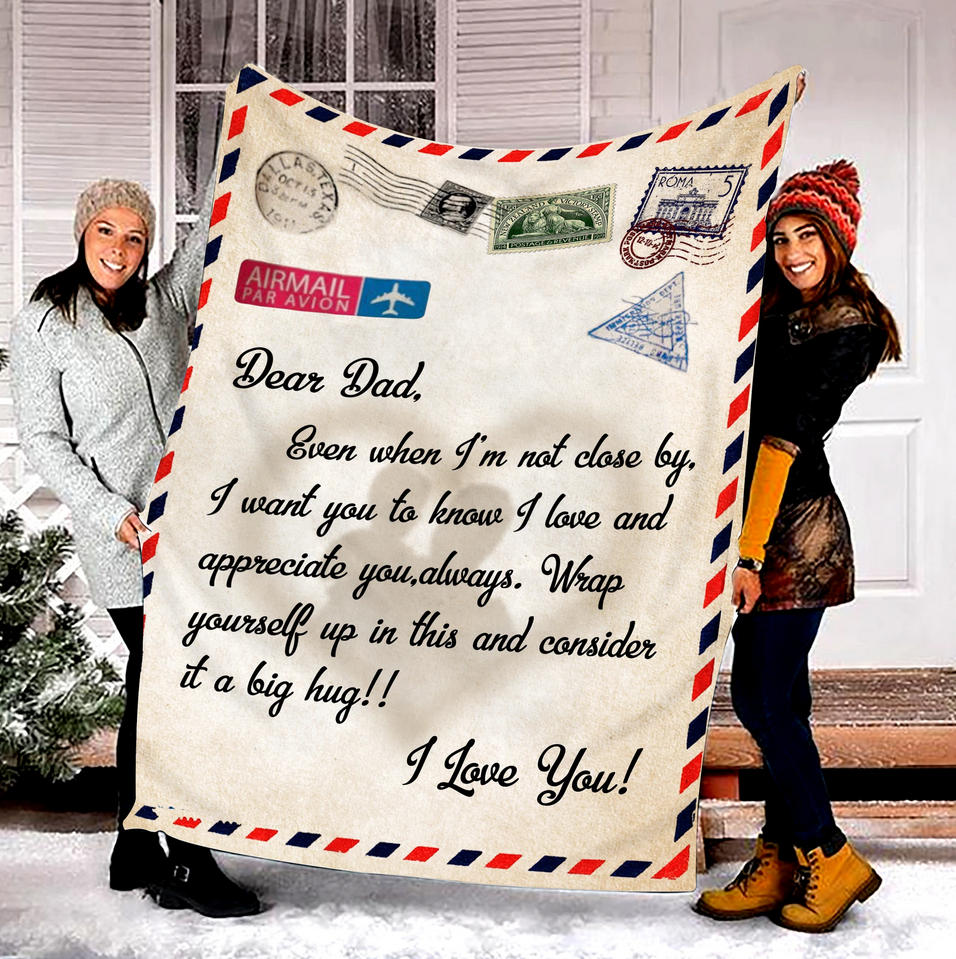 Dear dad - Fleece Blanket, gift for you, gift for her, gift for him, gift for dad, gift for father - Family Presents - Great Blanket, Canvas, Clothe, Gifts For Family