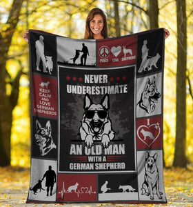 Dog Blanket Never Underestimate An Old Man With A German Shepherd Dog Glasses Fleece Blanket