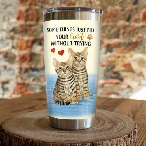 Bengal Cat Steel Tumbler Cup - Some things just fill your heart without trying