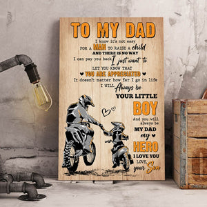 Fathers Day Bike Canvas - To My Dad From Son, Always Be My Dad My Hero, Happy Fathers Day Wall Art Decor
