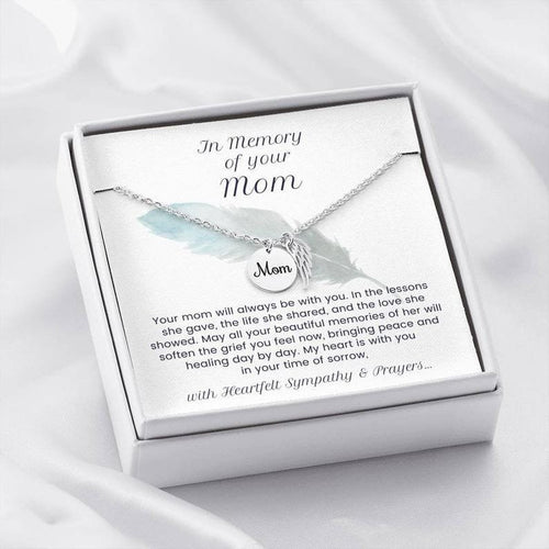 Mother's Day  Necklace, Gift For Mom Angel Wing From Daughter- 14k White Gold Necklace - Mom Remembrance Necklace, Memorial Bereavement Gift