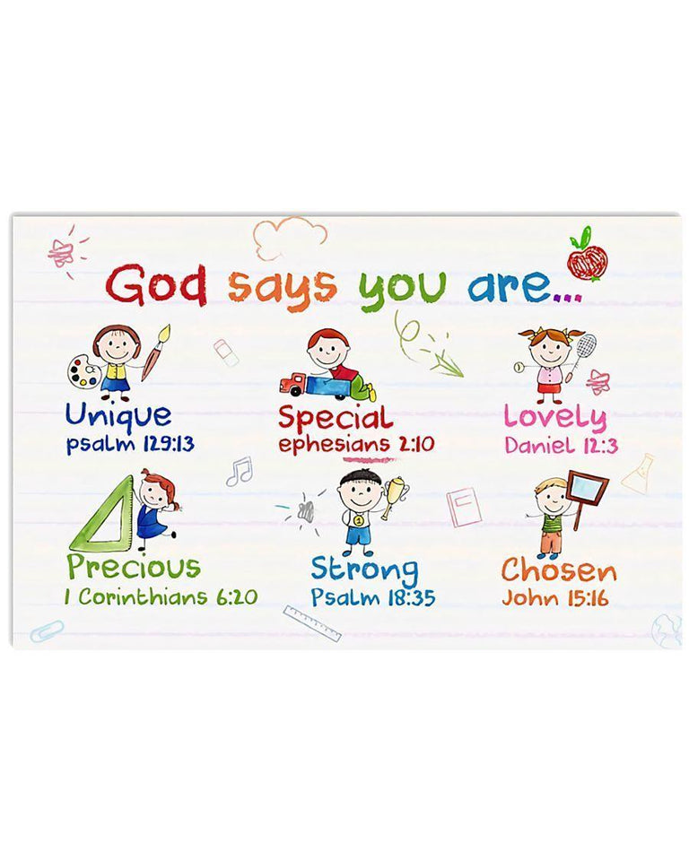 Cute Kids Teacher Wall Art Canvas  - Back to school canvas - God says you are