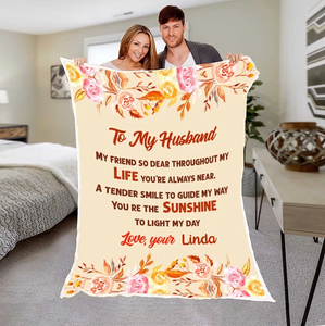 Personalized Couple blanket - Valentine gift to my husband - You're the sunshine to light my day - Family Presents - Great Blanket, Canvas, Clothe, Gifts For Family