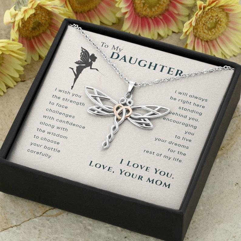 To My Daughter, Live Your Dreams Dragonfly Necklace | Gift for Daughter from Mom | Birthday, Graduation, Christmas Present - Family Presents - Great Blanket, Canvas, Clothe, Gifts For Family