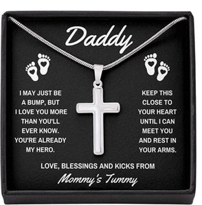 "To Daddy""Already My Hero"" Artisan Cross Necklace With Message Card And Gift Box. Gift For New Dad. Necklace For Dad To Be. Personalized Gift For New Dad"