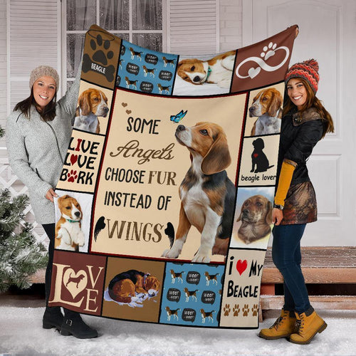 BEAGLE DOG BLANKET - SOME ANGELS CHOOSE FUR INSTEAD OF WINGS