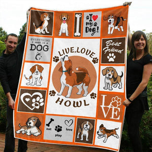 BEAGLE DOG BLANKET - LIVE, LOVE, HOWL