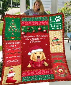 JUST A WOMAN OF BOOKS AND DOGS - PERSONALIZED CUSTOM BLANKET