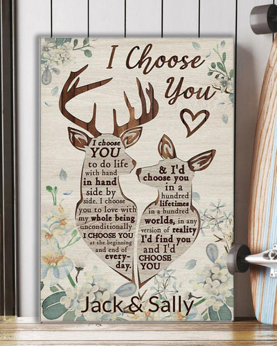 Personalized Canvas, Valentine gift I Choose You Deer Couple Canvas, Deer Canvas, Couple Canvas, Gift For Lover, Wife And Husband, Family Canvas, Home Decor - Family Presents - Great Blanket, Canvas, Clothe, Gifts For Family