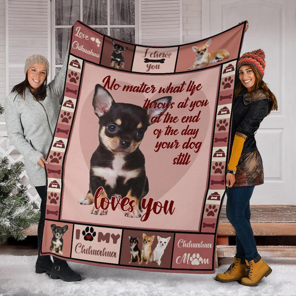 CHIHUAHUA DOG BLANKET - I LOVE MY CHIHUAHUA - Family Presents - Great Blanket, Canvas, Clothe, Gifts For Family