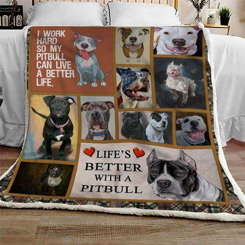 AMERICAN PITBULL TERRIER  SHERPA FLEECE BLANKET - I WORK HARD SO MY PITBULL CAN LIVE A BETTER LIFE