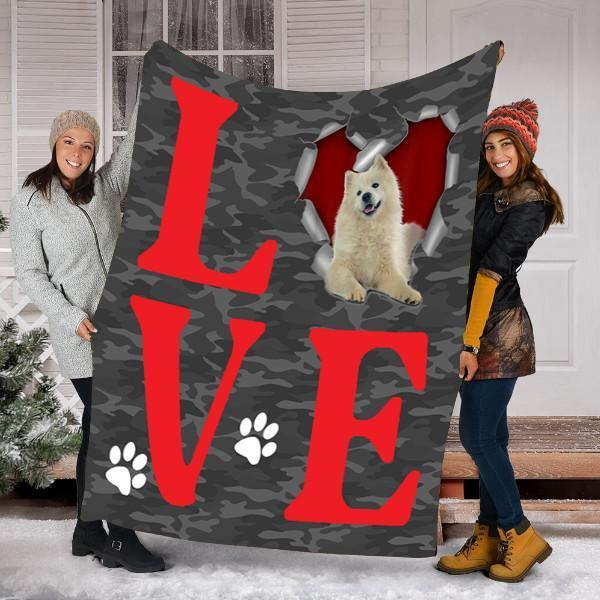 BLANKET SAMOYED DOG BLANKET - VALENTINES DAY GIFTS - FLEECE BLANKET
