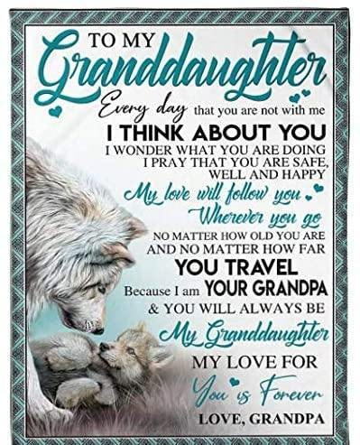 To my granddaughter I think about you You travel your grandpa Fleece Blanket